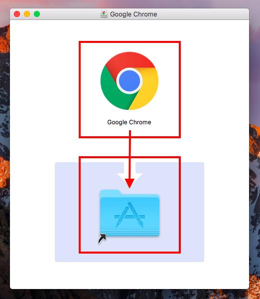 GoogleChromeをアプリケーションフォルダへドラッグしコピー